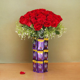 Combo Gift of 30 red roses and 18 Dairy milk arrangement