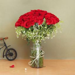 30 Roses With Vase Arangement