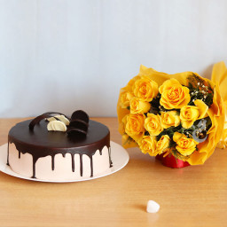 Combo Gift of 10 yellow roses bunch with Half kg chocolate truffle cake