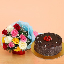 Combo Gift of 10 mixed roses bouquet and Half kg chocolate cake
