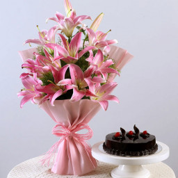 10 Pink Lily Bouquet with Chocolate Cake