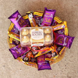 Combo Gift of 10 Five Star + 5 Cadbury Dairy Milk Silk  10 Dairy Milk + Pack of 16 Ferrero Rocher in a Basket