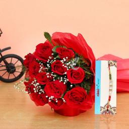 10 red roses with rakhi