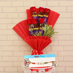 Combo of 6 Cadbury Dairy Milk Chocolate & 6 Red Roses and 1 Rakhi