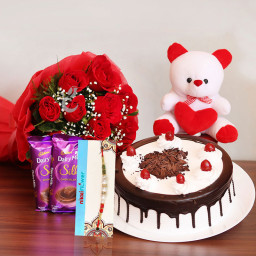 Combo of 10 Red Roses + 2 Cadbury's Dairy Milk Silks + Half Kg Black Forest Cake + 6inches 1 Teddy Bear + one Rakhi