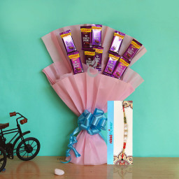 Dairymilk Style Sweet Rakhi - Bouquet of 10 dairy milk chocolates