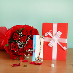 Rakhi Box Of Love contains 10 red roses with greeting card + One Rakhi