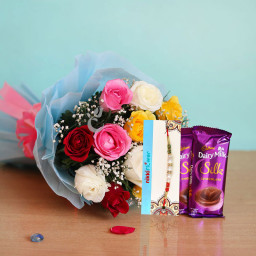 Gladden Chocolate Rakhi Pack - 12 mix roses and 2 dairy milk silk + One Rakhi