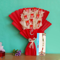 chocolate bouquet of kitkat + One Rakhi