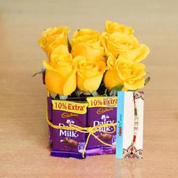 9 Yellow Roses + 8 Dairy Milk + 1 Rakhi