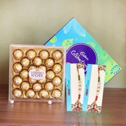 Nutty Rakhi Celebration Parcela of Cadbury celebrations & 24 Ferrero rocher + 2 Rakhi