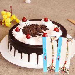 1/2 Kg Black Forest Cake, 2 Rakhi