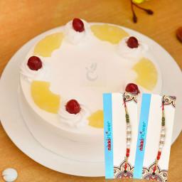 1/2 Kg Pineapple Cake, 2 Rakhi