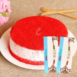 1/2 Kg Red Velvet Cake, 2 Rakhi