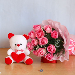 Combo Gift of Twelve Pink Roses and 12-Inch Teddy
