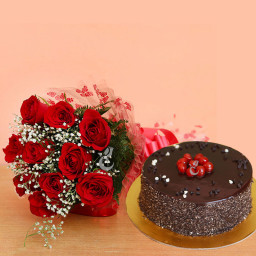 10 Red Roses and Truffle Cake Combo