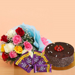 10 mix roses 5 dairy milk chocolates half kg chocolate cake