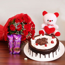 Combo of 10 Red Roses + 2 Cadbury's Dairy Milk Silks + Half Kg Black Forest Cake + 6inches 1 Teddy Bear