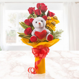 Arrangement of 10 Red Rose, 3 Ferrer Rocher and Teddy Bear