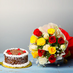 Combo of 12 mix Roses Bunch With Half Kg chocolate Cake