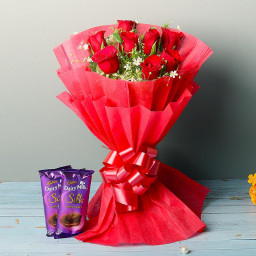 8 Red Rose with 2 Diary Milk Silk