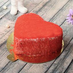 Half Kg Red Velvet Heart Shape Cake