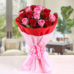 10 Red Roses and 10 Pink Roses in Red and Pink Paper