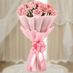 10 Pink Carnations in Pink Paper Packing