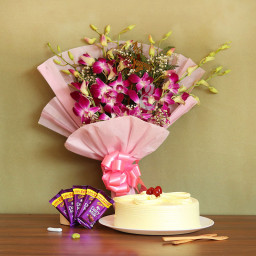 Combo Of 6 purple orchids+Half kg butterscotch cake+5 Dairy milk