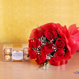 Combo of 10 Red Roses Bouquet and 16 Pcs Ferrero Rocher