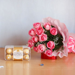 Combo of Ferrero Rochers with 10 Pink Roses Bouquet