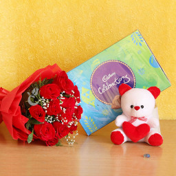 Combo of 12 Red Roses with 1 Cadbury Celebration and One 6 inch Teddy