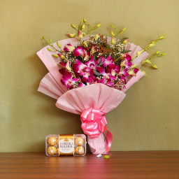 Gift Combo of 6 Purple Orchids Bouquet and 16 Ferrero Rocher Chocolate