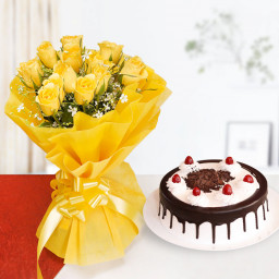 yellow Roses with blackforest cake