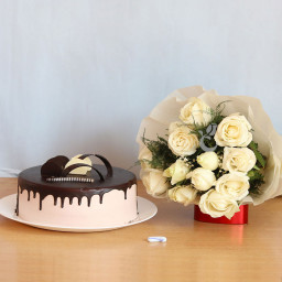 Gift Combo of 10 White Roses and Half Kg Chocolate Cake