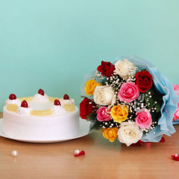 Gift Hamper of 12 Mix Roses Bunch with Half Kg Pineapple Cake