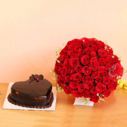 Combo of 50 Red Roses Bouquet and Half Kg Heart Shape Chocolate Cake