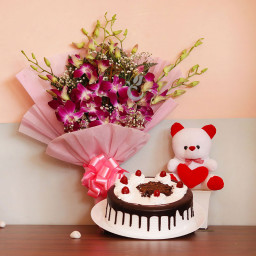 Gift Combo of 6 Purple Orchid with Half kg Black Forest Cake and 6 Inch Teddy Bear