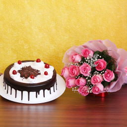10 Pink Roses Bouquet with Half Kg Black Forest Cake