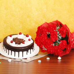Combo of 12 Red Carnation Bouquet with Half Kg Black Forest Cake.