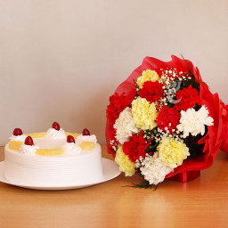 Combo of 12 Mix Carnation Bunch with Half Kg Pineapple Cake