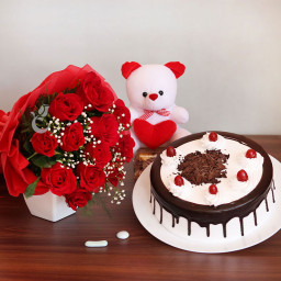 Gift Hamper of 12 Red Roses Bouquet with One 12 Inch Teddy and Half Kg Black Forest Cake