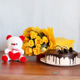 Gift Combo of 12 Yellow Roses Bunch with One 12 inch Teddy and Half Kg Chocolate Cake