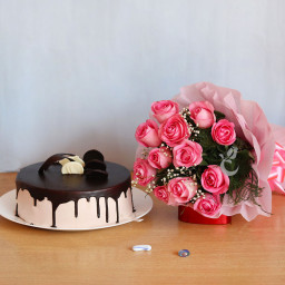 10 Pink Roses And Half Kg Chocolate Truffle Cake Combo Gifts