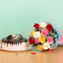 Combo Gift Of 12 Mix Roses With Half kg Chocolate Cake