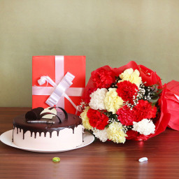 10 Mix Carnation+half kg chocolate cake+Greeting card