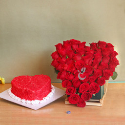 Combo Gift of 50 Red Roses Heart Shaped Arrangement and One Kg Heart Shape Red Velvet Cake