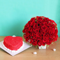 Combo Gifts Of 50 Red Roses Bouquet And One Kg Heart Shape Red Velvet Cake