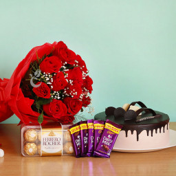 Combo of 12 Red Roses Bunch + 5 Cadbury Chocolates + Ferrero Rocher + Chocolate Cake