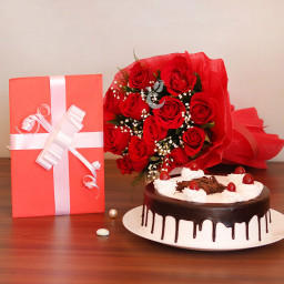 Combo Gifts Of 10 Red Roses with One Greeting Card and Half Kg Black Forest Cake